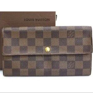 🆕 Louis Vuitton Damier Ebane Long Bifold Wallet